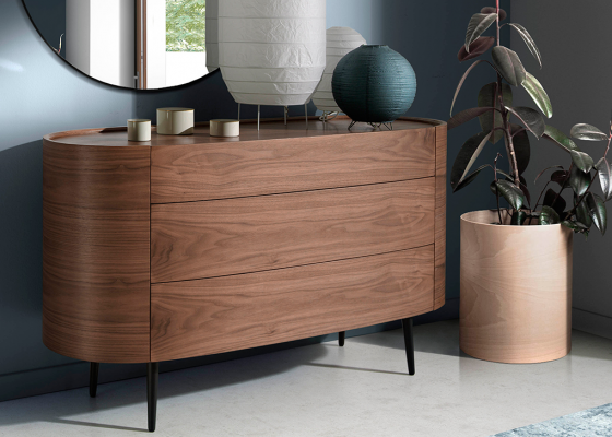 Oval chest of drawers in walnut wood. Mod: OVALE