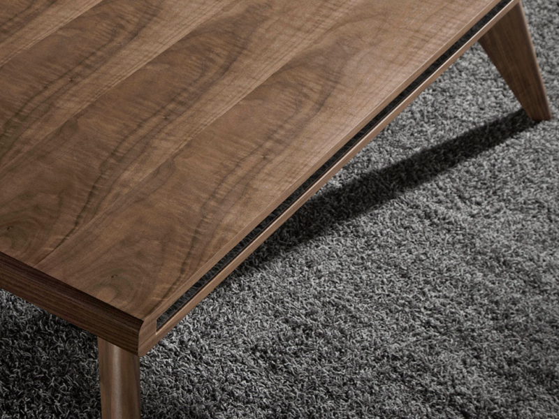 Dining table made of walnut veneered wood with mirrored side glass.Mod: MIROIR