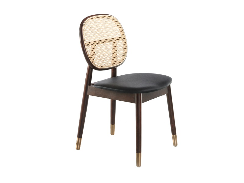 Upholstered chair with rattan backrest. Mod: EVA