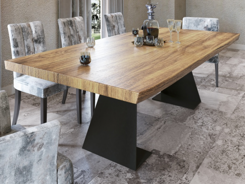 Fix dining table with ash wood top. Mod. ARANS