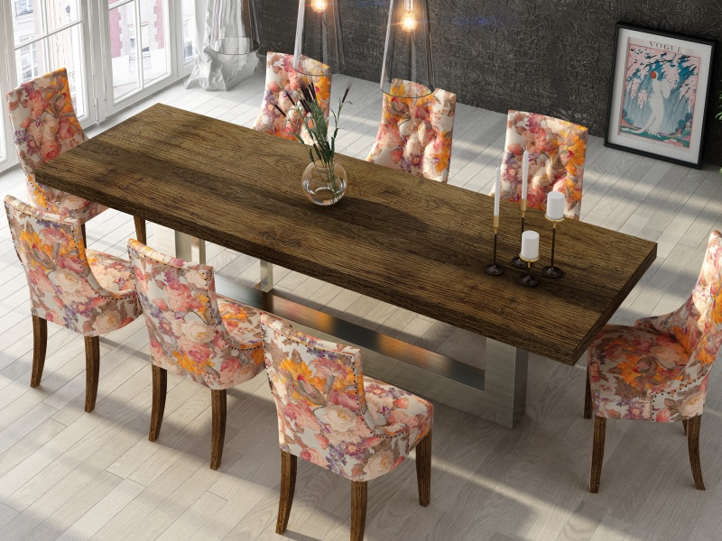 Fix dining table with ash wood top. Mod.OSTENDE ASH WOOD