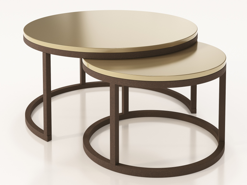 Set of two round nesting tables with lacquered tops.Mod: ADIL