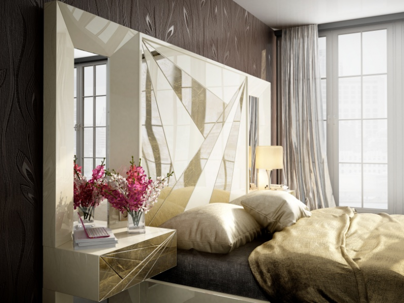 Lacquered headboard with side mirrors and 1-drawer bedside tables.Mod. BADRA