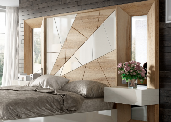 Oak and lacquered headboard with side mirrors and 1-drawer bedside tables.Mod. AMAL