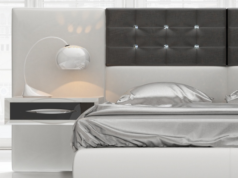 Complete upholstered bed with 1-drawer lacquered bedside tables.Mod: ALEA