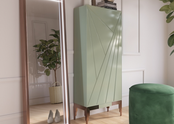 Lacquered shoe rack with metallic legs. Mod. SORRENTO L