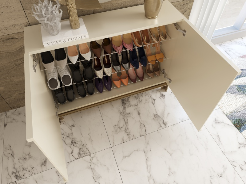 Lacquered shoe rack with metallic legs. Mod. SABLE