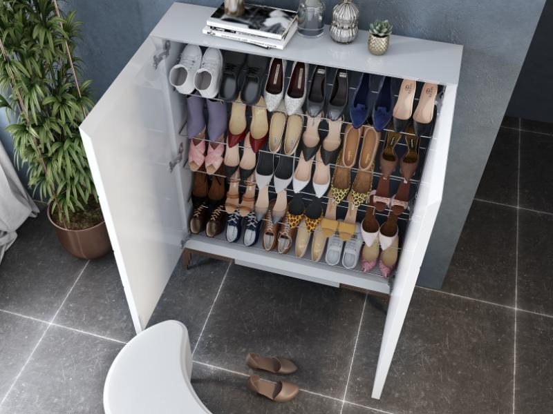 XXL Lacquered shoe rack with metallic legs. Mod. SORRENTO XXL