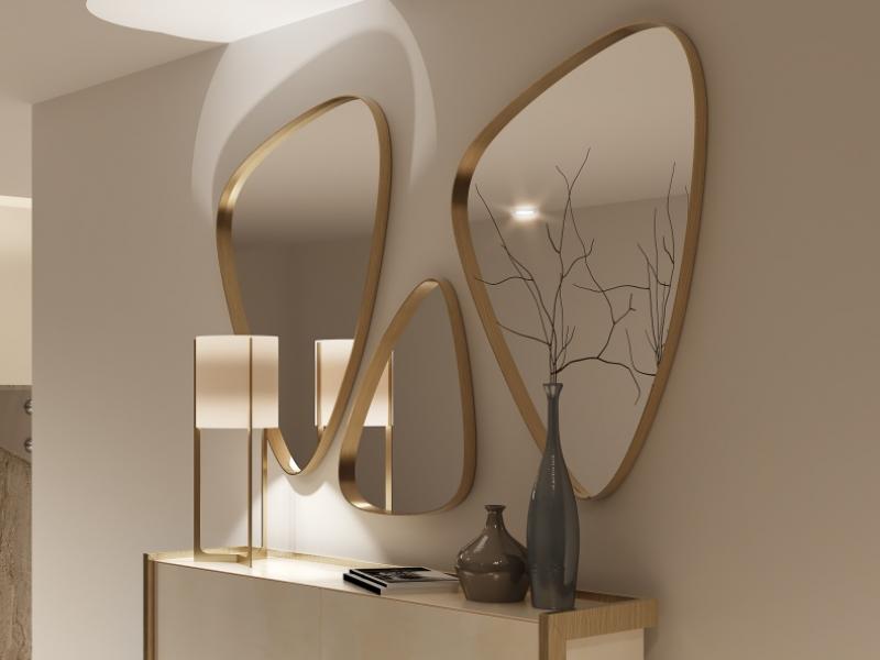 Set of 3 metallic mirrors. Mod. PIERRES