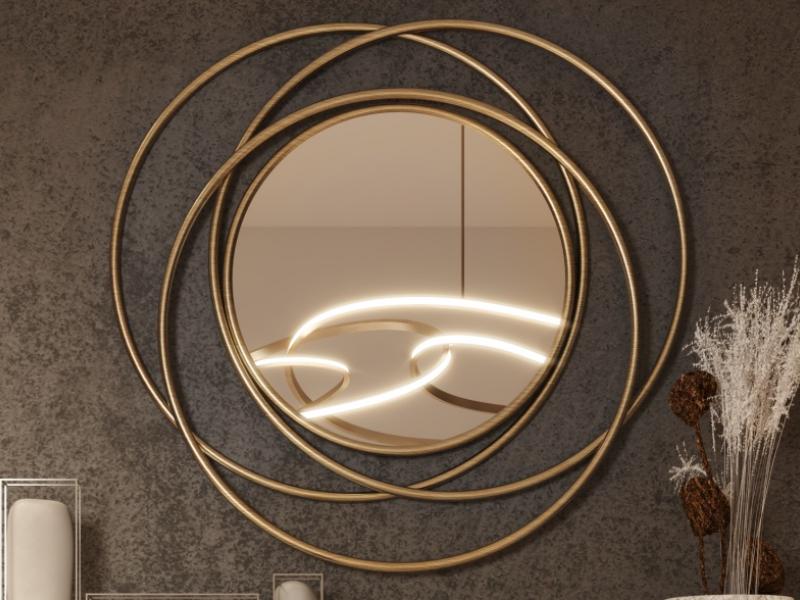 Metallic round mirror. Mod. COURBES