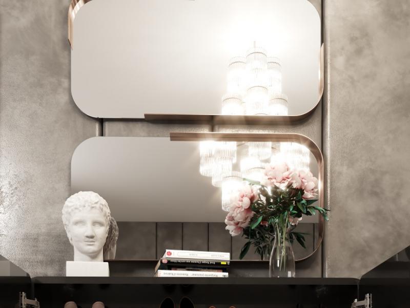 Metallic rectangular mirror. Mod. VEVEY