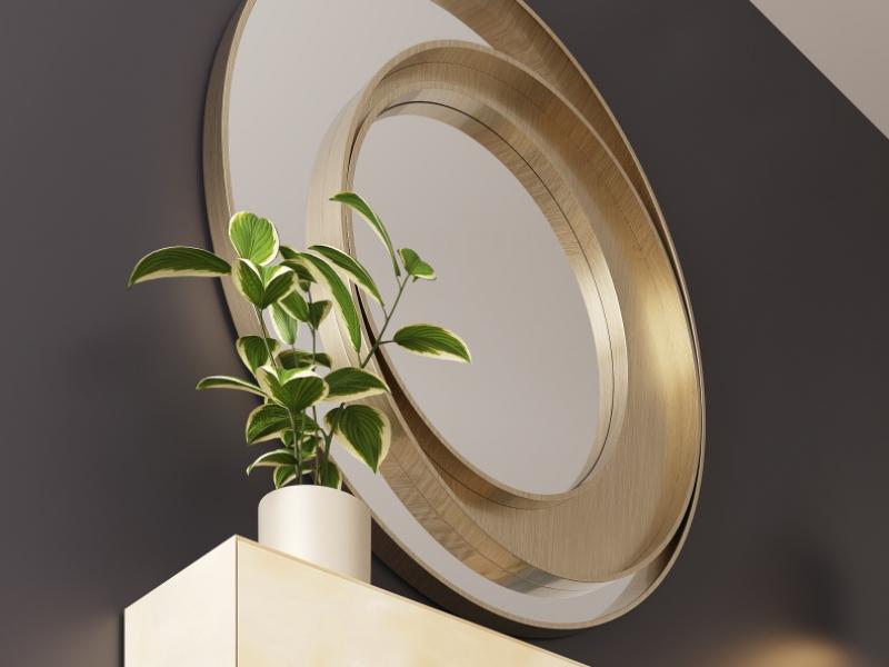Metallic round mirror. Mod. SPIRALE