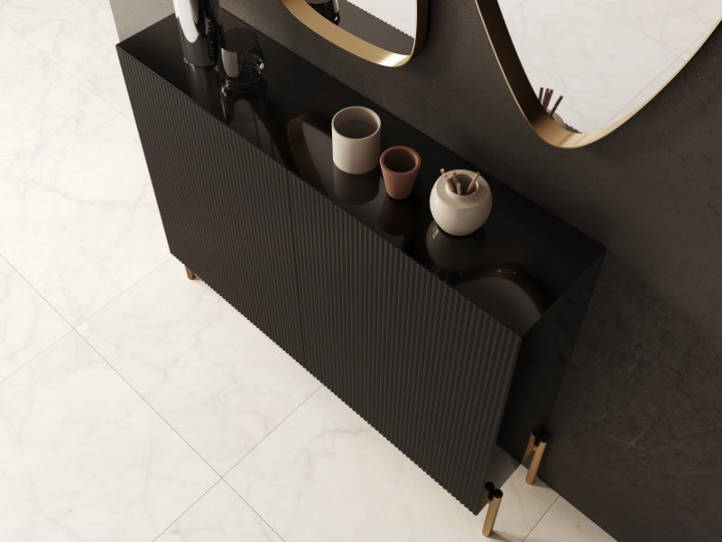 Lacquered shoe rack with metallic legs. Mod. PIERRES