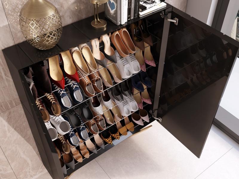 XXL Lacquered shoe rack with metallic legs. Mod. SOLEIL XXL