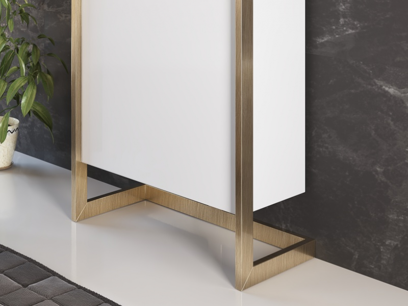 Lacquered shoe rack with metallic structure.Mod: DANIA L