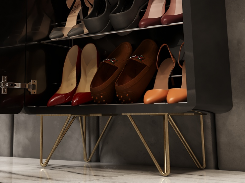 Lacquered shoe rack with metallic legs. Mod. EDNA L