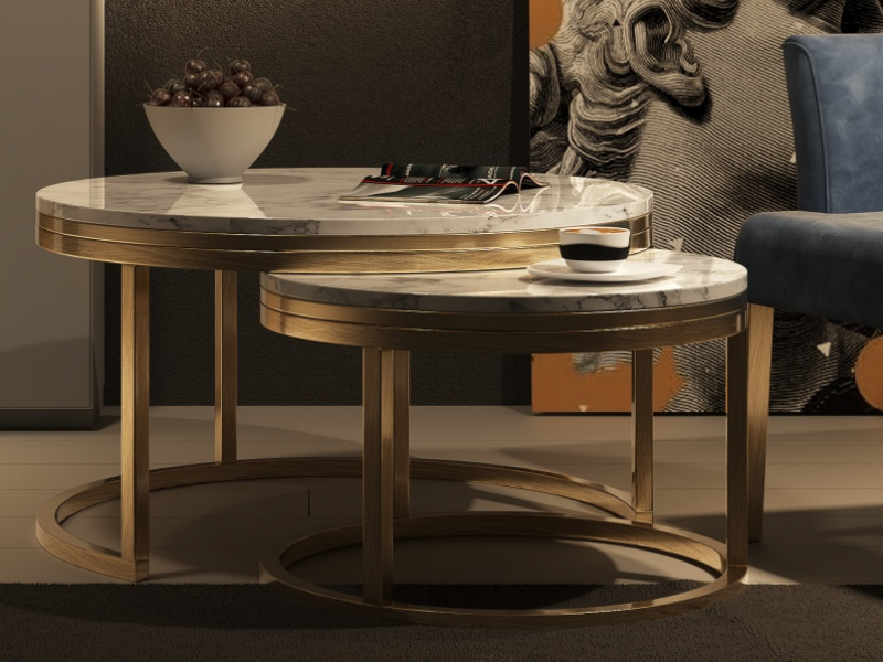 Set of two round nesting tables with with marble top.Mod: LYA