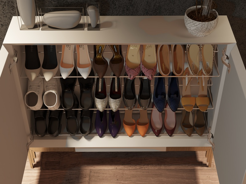 Lacquered shoe rack with metallic legs. Mod. CATANIA
