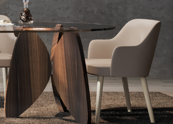 Upholstered chair with walnut wood legs. Mod. OSLO
