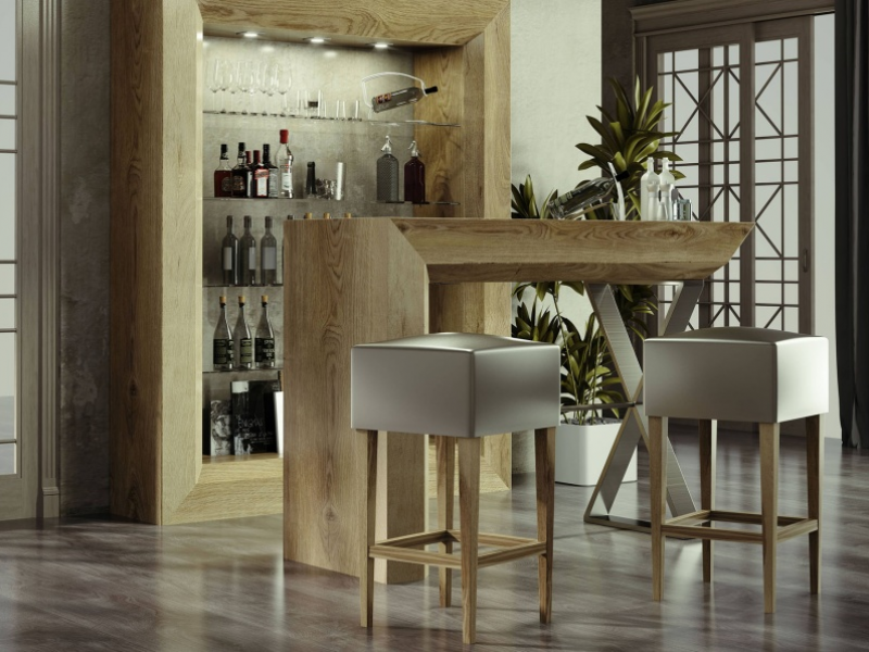 Set of 2 upholstered stools. Mod. SHERRY