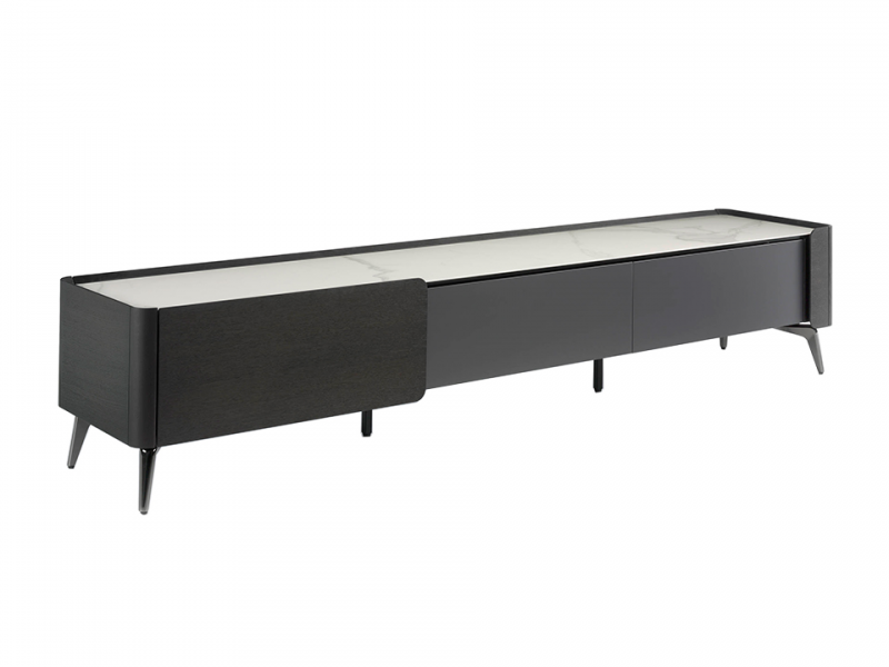 Wengue wood and porcelain marble TV cabinet.Mod: ATRANI