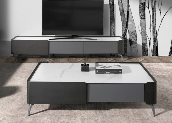 Wengue wood coffee table and porcelain marble top. Mod: ATRANI
