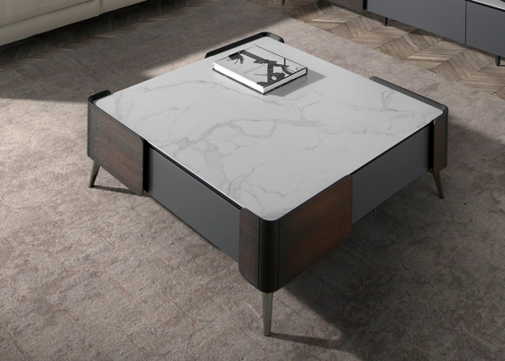 Wengue square coffee table and porcelain marble top. Mod: ATRANI