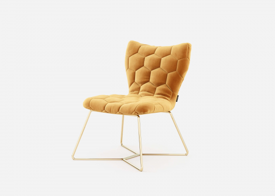 Upholstered chair with stainless steel frame. Mod. ISABELLA