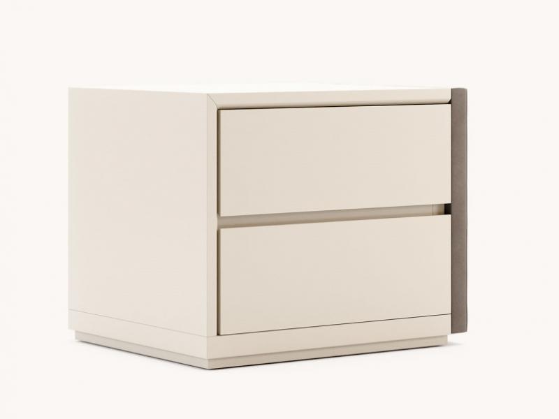 Wood and uphosltered bedside tables - set of 2 units. Mod. DORIANNE