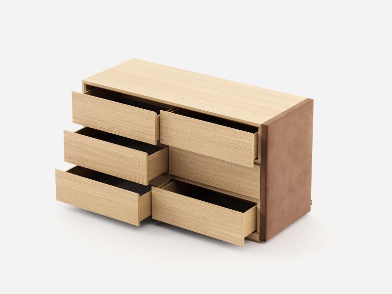 Wood and uphosltered  6- drawer dresser. Mod: DORIANNE