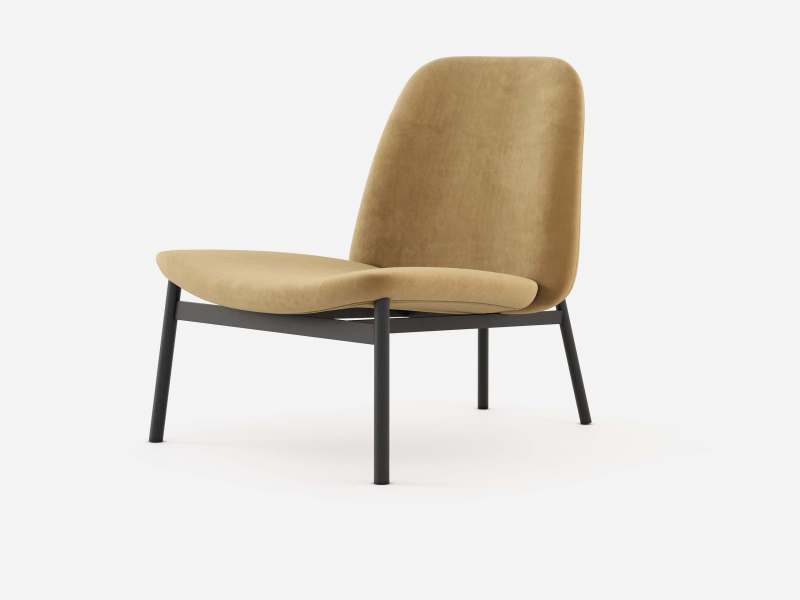 Design upholstered armchair with steel frame. Mod. CLAUDE