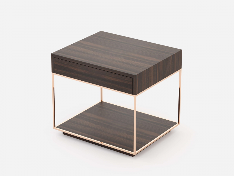 Stainless steel and wood bedside tables - set of 2 units. Mod. AGHATA