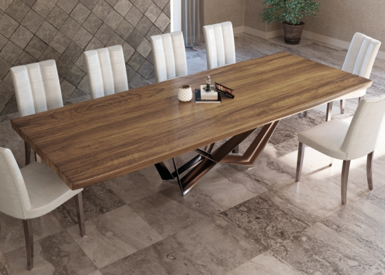 Fix dining table with ash wood top. Mod.MONTONE ASH WOOD