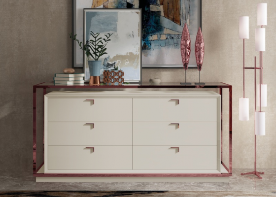 Lacquered dresser with 6 drawers framed in stainless steel. Mod. HIBA GLASS