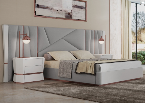 Upholstered and lacquered complet bed with stainless steel details. Mod AFSANA