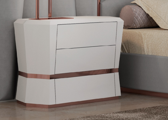 3-drawer lacquered bedside tables with stainless steel details. Mod. AFSANA