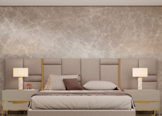 Large uphostered headboard with stainless steel detaisl. Mod. ABIR