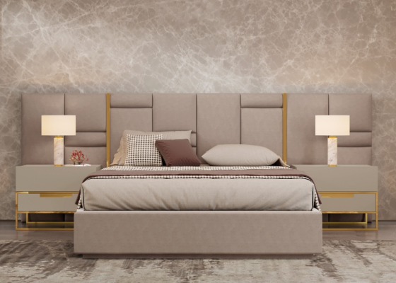 Upholstered complet bed with stainless steel details. Mod ABIR