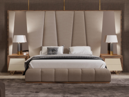 Complete XXL upholstered bed with framed headboard in American walnut wood and side mirrors. Mod. HANANE