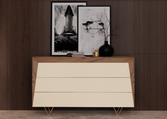 3-drawer dresser in walnut wood, lacquered fronts and stainless steel legs. Mod. HANANE