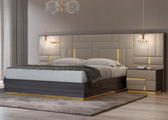 Complete bed in ebony wood with upholstered headboard and stainless steel details. Mod. SALMA