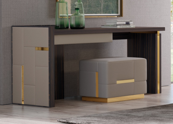 Ebony wood desk with upholstered sides and stainless steel detaisl. Mod.  SALMA