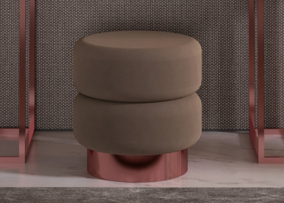 Upholstered pouf with stainless steel base . Mod. HIBA