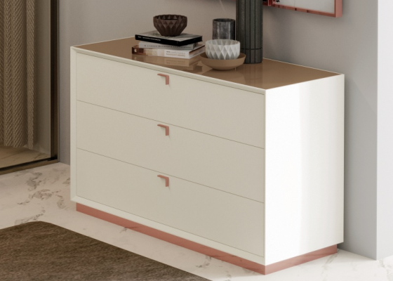3-drawer dresser with stainless steel baseboard. Mod. HIBA