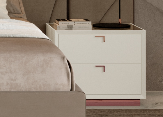 2-drawer lacquered bedside tables with stainless steel baseboard. Mod. HIBA