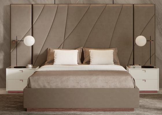Complete XXL upholstered bed with wood ebony headboard. Mod. HIBA