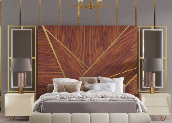 XXL wood headboard with stainless steel details and mirrors. Mod. ZURAH