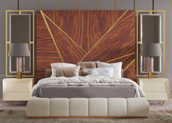 Complete XXL upholstered bed with wood headboard with stainless steel details and side mirrors. Mod. ZURAH