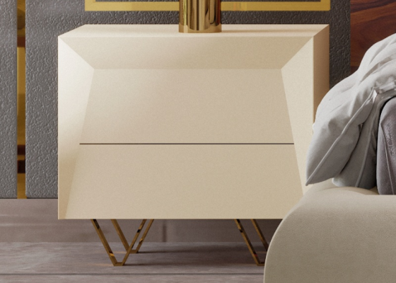 2-drawer lacquered bed side tables with stainless steel bases. Mod: ZURAH