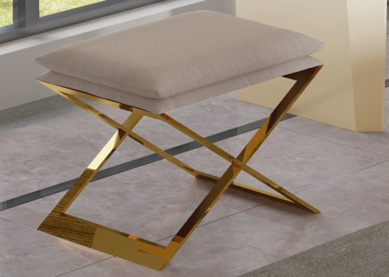 Design upholstered bench with frame in stainless steel. Mod. ZURAH